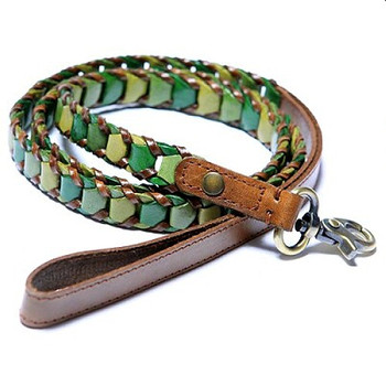 Shades of Green Leather Dog Lead