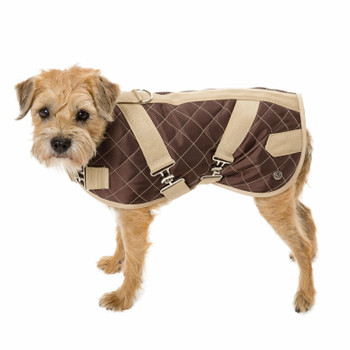 Quilted Horse Blanket Dog Coat - Brown / Beige