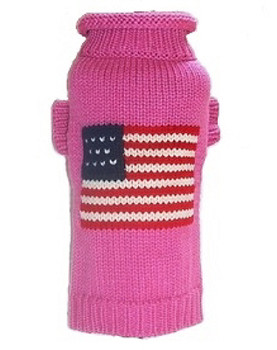 Pink Patriotic Pup Dog Sweater