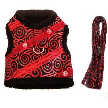 Ruby Red Brocade Minky Plush Dog Harness