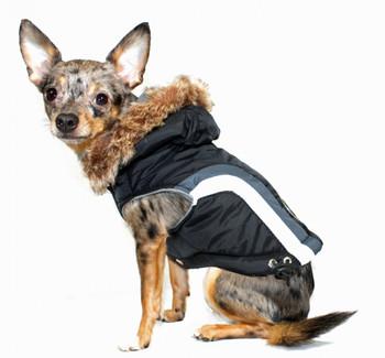 Swiss Alpine Dog Ski Vest Jacket - Black / Detachable Hood -BIG Dog Sizes
