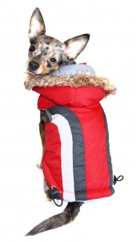 Swiss Alpine Dog Ski Vest Jacket - Red / Detachable Hood - BIG Dog Sizes