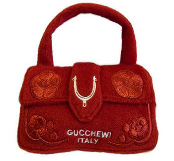 Gucchewi Red Floral Purse Plush Dog Toy