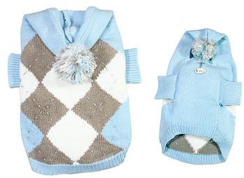 Argyle Pattern Hoodie Dog Sweater with Pompom - Light Blue