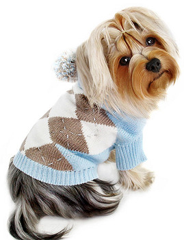 Argyle Pattern Hoodie Dog Sweater with Pompom - Light Blue