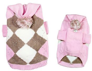 Argyle Pattern Hoodie Dog Sweater with Pompom - Light Pink