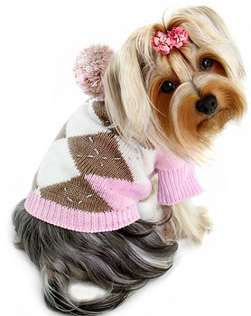 Argyle Pattern Hoodie Dog Sweater with Pompom - Light Pink