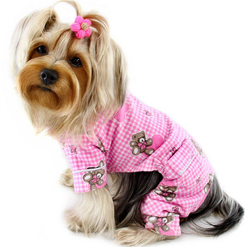 Teddy Bear Love Flannel Dog Pajamas - Pink