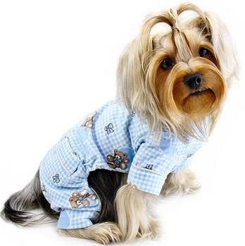 Teddy Bear Love Flannel Dog Pajamas - Blue