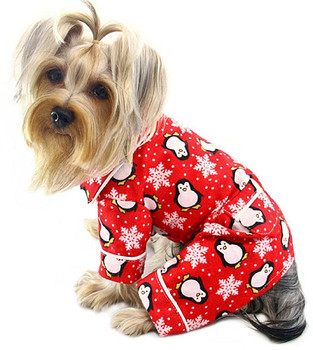 Penguins and Snowflakes Flannel Dog Pajamas - Red & Optional Blanket