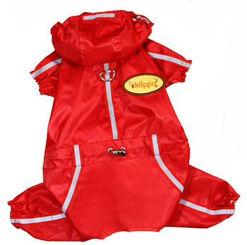 Dog Red Raincoat Bodysuit with Reflective Stripes & Matching Pouch