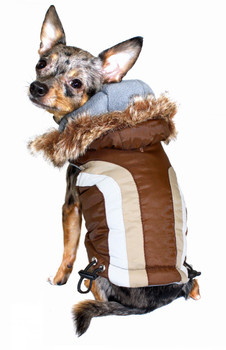 Swiss Alpine Dog Ski Vest Jacket - Brown / Detachable Hood