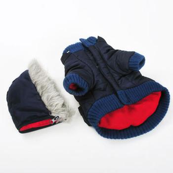 Pocket Parka Dog Coat / Removable Hood - Black