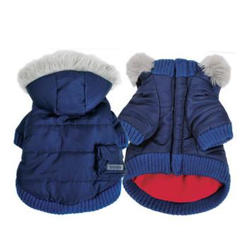 Pocket Parka Dog Coat / Removable Hood - Navy Blue