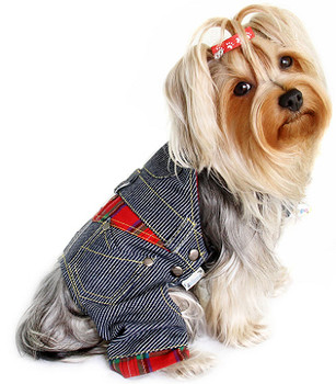 Stripey Denim Dog Overalls