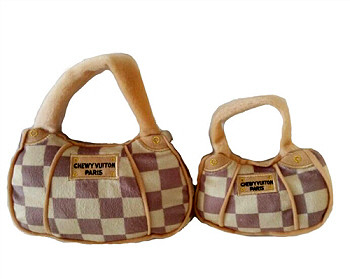 Checkered Chewy Vuiton Purse Dog Toy