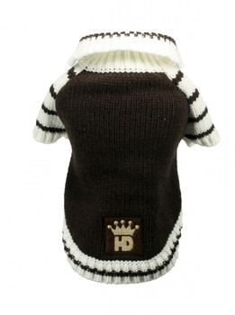 HD Crown Acrylic Faux Knit Cardigan Dog Sweater - Brown