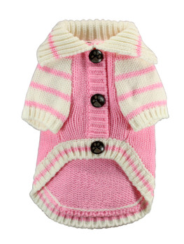 HD Crown Acrylic Faux Knit Cardigan Dog Sweater - Pink