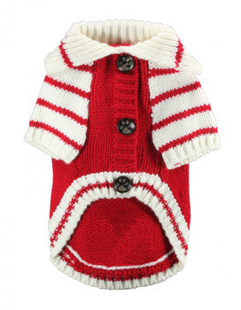 HD Crown Acrylic Faux Knit Cardigan Dog Sweater - Red