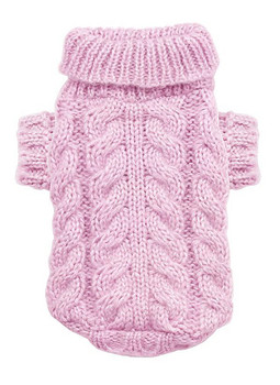 Pink Angora Cable Knit Dog Sweater