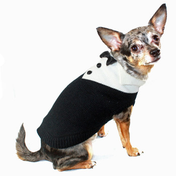 Black Tux Knit Dog Sweater