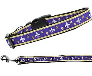 Purple & Yellow Fleur de Lis Nylon Dog Collar