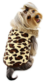Leopard Print Double Fleece Dog Coat w/ Fur Collar