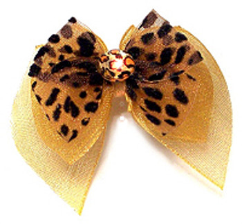 Dog Hair Bow Barrette - Golden Leopard Fairy Wings Bow