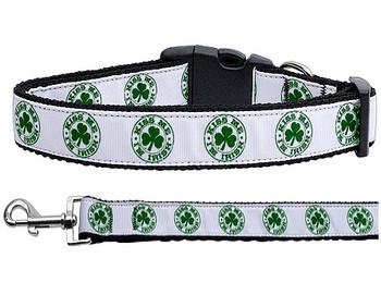 Kiss Me - I'm Irish Nylon Ribbon Dog Collar & Matching Leash