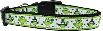 Party Owls St Pattys Day Nylon Ribbon Dog Collar & Matching Leash
