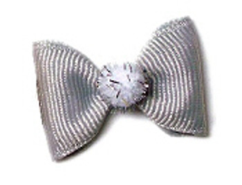 Holiday Fuzzies Dog Hair Bow Barrette - Silver