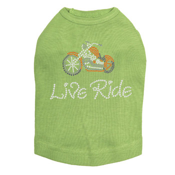 Live Ride Orange Motorcycle Rhinestone Dog Tank - Lime Green - Size Small