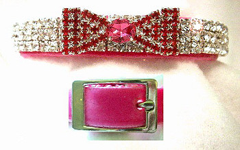 Rose Velvet & Swarovski Crystals w/ Rose Bow Tie Dog Collar