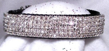 Diamond Velvet Sparkle Swarovski Crystals Dog Collar - 1 inch