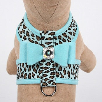 Tiffi Blue Cheetah Couture Collection Big Bow Tinkie Dog Harness - Tiffi Blue Trim