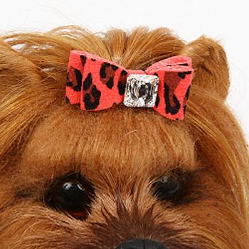 Tiffi Blue Cheetah Couture Collection Big Bow Tinkie Dog Harness - Tiffi Blue Trim