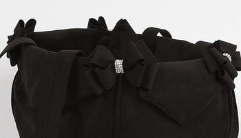 Black Nouveau Bow Luxury Dog Purse / Carrier