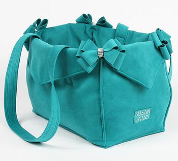 Montego Blue Nouveau Bow Luxury Dog Purse / Carrier