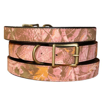 Pink Camouflage Leather Dog Collar & Leash