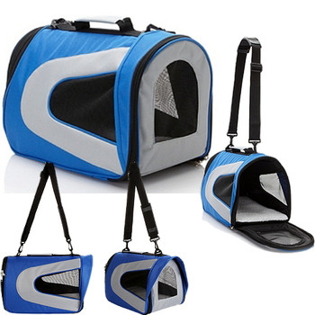 Blue & Grey Airline Approved Collapsible Pet Dog Carrier