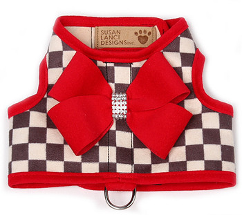 Windsor Check Contrasting Trim Bailey II Dog Harness - Red