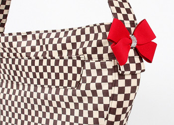 Windsor Check w/ Red Nouveau Bow Cuddle Dog Carrier by Susan Lanci Designs