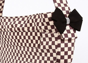 Windsor Check w/ Black Nouveau Bow Cuddle Dog Carrier by Susan Lanci Designs