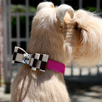 Windsor Check Really Big Bow Dog Collars by Susan Lanci