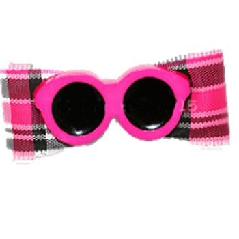Dog Bow Barrette  - Pink Sunglasses