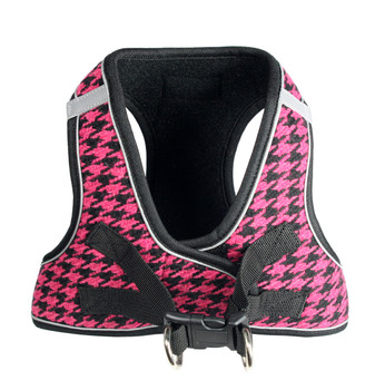 EZ Reflective Houndstooth Dog Harness Vest - Pink / Black