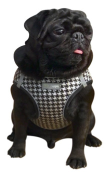 EZ Reflective Houndstooth Dog Harness Vest - White / Black