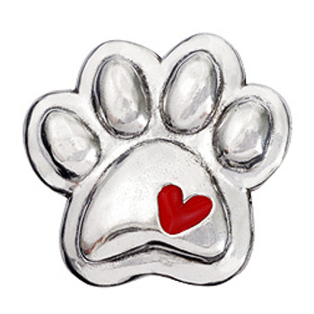 Pewter Paw Dog Magnet with Heart