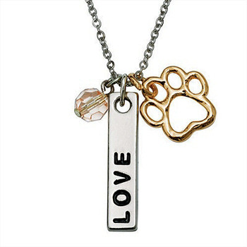 Paw Necklace - Love Bar w/Pink Crystal Bead for Pet Lovers