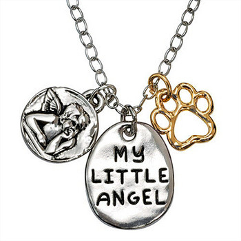 Paw Necklace - My Little Angel and Guardian Angel - Engravable